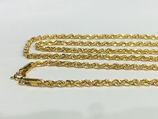 "21K Solid Yellow Gold Unisex Italian Hollow Rope Chain Necklace,22"". 5.15 Grams."