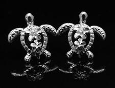 STERLING SILVER 925 HAWAIIAN LARGE SMALL PLUMERIA HONU TURTLE EARRINGS 13.40MM