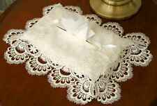 """IVORY DAMASK WITH ELEGANT LACE FABRIC TISSUE BOX COVER 5"""" X 10""""  X 5"""""""