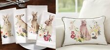 New! Set 4 Pottery Barn Floral Bunny Easter Napkins & Pillow...Salad Plates