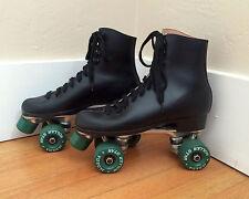 True vintage Black Roller Derby Skates M 7 (W 8.5) Green Labeda Roller Star 70s