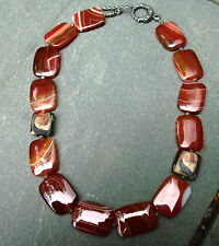 "Red Orange Agate Stone Necklace With Dragon Clasp Large Chunky Necklace 20"" Long"