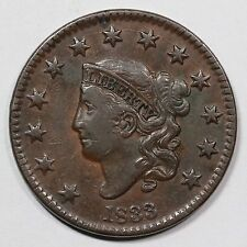 1833 N-5 Horned 8 Matron or Coronet Head Large Cent Coin 1c