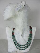 original altes Collier Halskette Türkis Steine rote Koralle & Silber Tibet ~1970