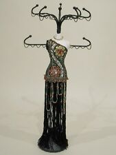 Jewelry Organizer, Black Jeweled Gown Mannequin-Red Jewels