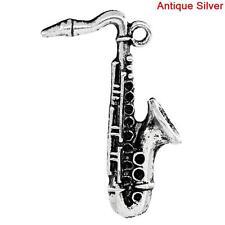 2 Pcs Charm Pendants Saxophone Antique Silver Cabochon 36.5x24.5mm LC1448