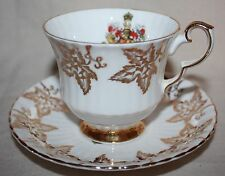 """ROYAL WINDSOR FINE BONE CHINA """"CANADA"""" TEA CUP AND SAUCER SET MADE IN ENGLAND"""