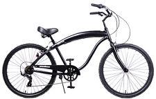 """Aluminum Frame, Fito Modena II Alloy 7-speed Men 26"""" Beach Cruiser Bike ALMBLK"""