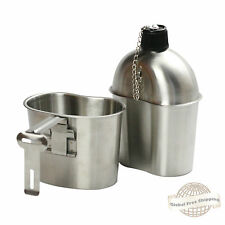 Military Stainless Steel Canteen with Cup G.I. Army Green Nylon Canteen Cover