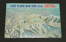 1980 Winter Olympic Games Postcard Lake Placid, NY Map of Area Activities 1977