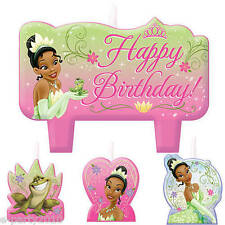 PRINCESS AND THE FROG CANDLE SET (4pc) ~ Tiana Birthday Party Supplies Cake
