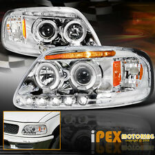 1997-2003 Ford F150 / 97-02 Expedition Halo Projector LED Headlights Chrome