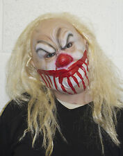 Smiley The Halloween Killer Clown Mask with Blond Wig Latex Fancy Dress Costume