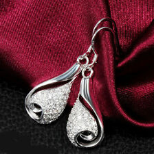 925 Silver Plated Crystal Teardrop  Drop Dangle Earrings Stunning Ladies Gift