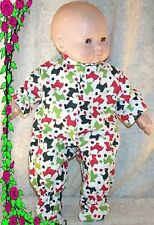 "Doll Clothes fit American Girl Bitty Baby 16"" inch Pajamas Footed Scotty Dog Red"