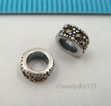 4x ANTIQUE STERLING SILVER MARCASITE STONE RONDELLE SPACER BEAD 5.4mm #2431