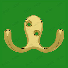 6x Hat, Coat, Clothes Robe Brass Plated Drunken Octopus Lightweight Double Hook
