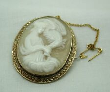 Victorian Beautiful 9ct Gold Mounted Carved Cameo Brooch