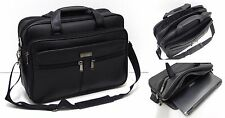 Mens Ladies Quality Faux Leather Feel Laptop Bag - Executive Pilot Briefcase