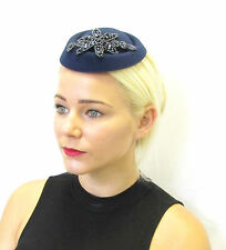Navy Blue Beaded Pillbox Hat Fascinator Races Vintage Hair 1940s Wedding 30s 590