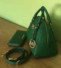 Michael Kors Green Saffiano Leather Small Handbag Crossbody Bag & Purse Set