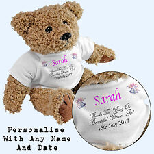 Personalised Flower Girl Teddy Bear - Add Any Name / Date - Wedding Gift