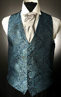 W - 552. MENS AND BOYS STRIKING BLUE PAISLEY WAISTCOAT WEDDING/DRESS/SUIT