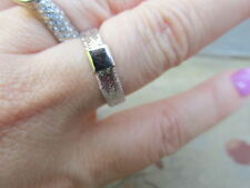 14 KT White Gold Open Weave Mesh Band Ring Lightweight Thin NEW size 8.5 Defect