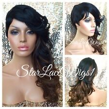 Mixed Ombre Layered Full Wig Bangs Shaved Short Side Wavy Curl Heat Safe Ok