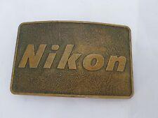 """NIKON logo Indiangiver made USA camera true vintage brass belt buckle 3.5"""""""