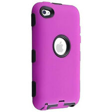 Hybrid Case For Apple iPod touch 4th Gener Black Hard/ Hot Pink Skin