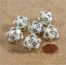 NEW Set of 6 Pearlized Gray White D20 Dice RPG D&D Game Twenty Sided Die D20s