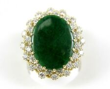 Fine Huge Oval Cut Deep Jade Lady's Ring w/Diamond Halo 6.80Ct 14k Yellow Gold