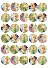 30 X TINKERBELL MIXED IMAGES EDIBLE CUPCAKE CAKE TOPPERS 176