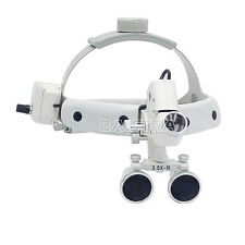 3.5X Dental Surgical Medical Headband Binocular Loupes with LED Light White