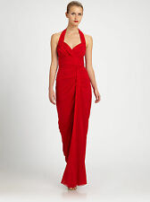 $695.00 New Badgley Mischka Halter Red Evening Gown Dress Size 16