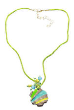 Cute Bold Green Rope Stone Strand Hippy Inspired Necklace(Cl15/zx80)