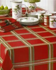 Lenox Holiday Gathering Plaid Tablecloth, 60 X 84-In OVAL RED Green White