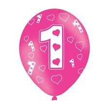 6pk Age 1 Rosa Amore Cuori Palloncino In Lattice Compleanno Decorazioni Festa