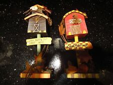 Set of 2 Rustic Country Birdhouses Tabletop Decorations for Thanksgiving, Fall