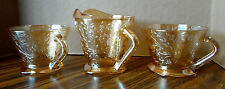 Depression Glass Iridescent JEANNETTE LOUISA FLORAGOLD Cups & Creamer