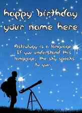 A5 Personalised Greeting Card Astrology Telescope With Quote Birthday PIDS5