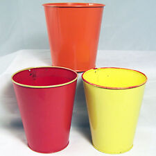 """Flower Pots Set Of 3 Tin Metal 5,1/4"""" Tall Red Orange Yellow & 3 Plastic Liners"""