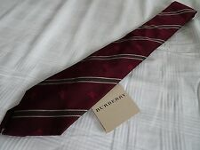 New BURBERRY LONDON Men's Red Claret ROHAN Slim Skinny Silk Striped Tie $135