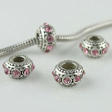 5pcs Pink Crystal Rhinestone European Charm Spacer Big Hole Beads Fit Bracelet