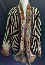 Zebra Animal Print Tribal Blanket Jacket Its in the Bag XL Cotton With Pockets