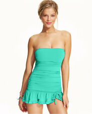 Coco Rave Popsicle Ruched Bandeau Ruffle Swimdress One Piece Swimsuit M 34C NWT