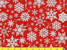 White Snowflakes w/ Scissors on Red Christmas Quilting Fabric by Yard  #3109
