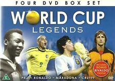 WORLD CUP LEGENDS FOOTBALL - PELE RONALDO MARADONA & johan CRUYFF - 4 DVD SET