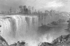 GENESEE WATER FALLS, ROCHESTER New York ~ Old 1838 Landscape Art Print Engraving